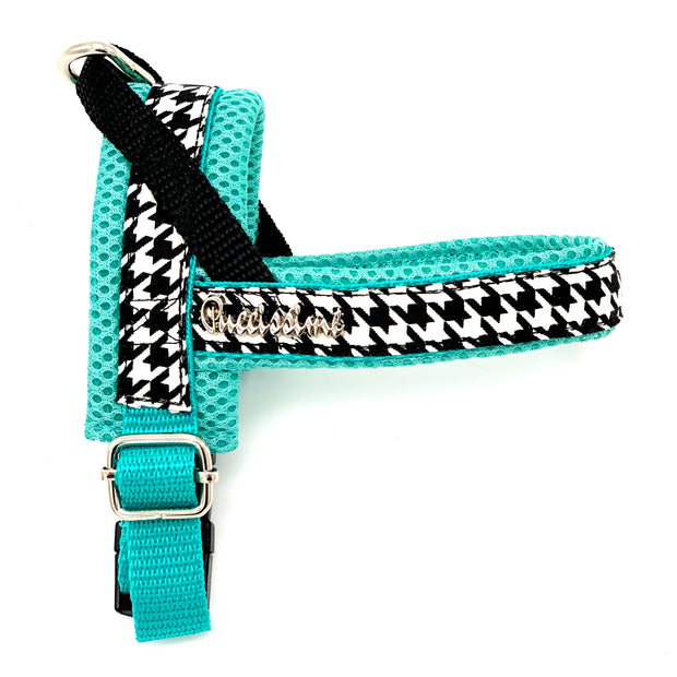 Designer luxury fashion houndstooth turquoise dog Norwegian no pull no choke  harness bow tie collar flower and leash matching set - Puccissime pet couture
