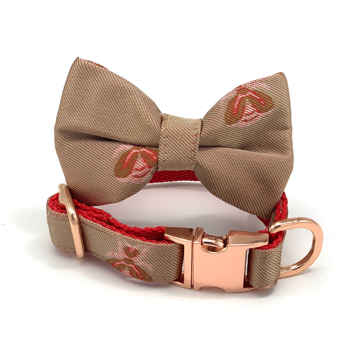 Champagne beige satin dog collar & bow tie set - Xmas dog accessories - Christmas dog collar and bow tie