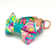 Shiny turquoise dog collar & bow tie set