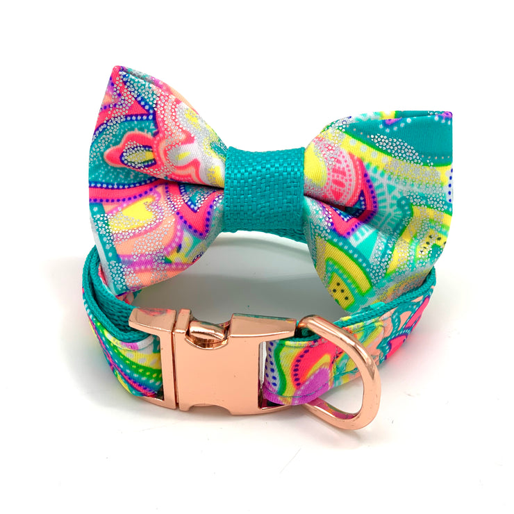 Shiny turquoise dog collar & bow tie set - Dropship