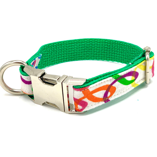 Rainbow green dog collar bow tie set