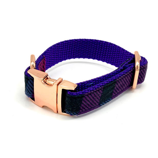 Tartan purple dog collar- dropship
