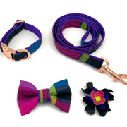 Tartan purple dog collar bow tie set