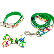 Rainbow green dog collar