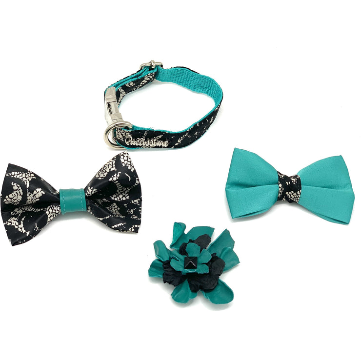 Satin turquoise forest dog collar bow tie set
