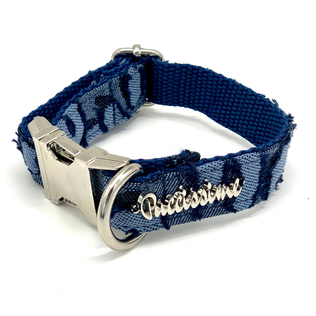 Light denim dog collar & bow tie set- Dropship
