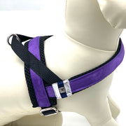 Satin Purple leopard dog harness - no pull no choke Norwegian harness