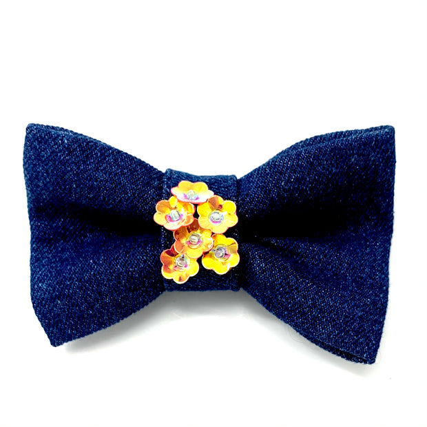 Orange denim garden flowers collar & bow tie set