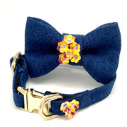 Luxury Christmas dog orange floral denim bow tie & collar set