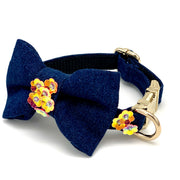 Orange denim garden flowers collar & bow tie set - Dropship