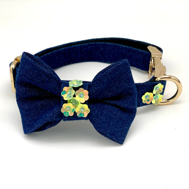 Luxury Christmas dog floral denim bow tie & collar set