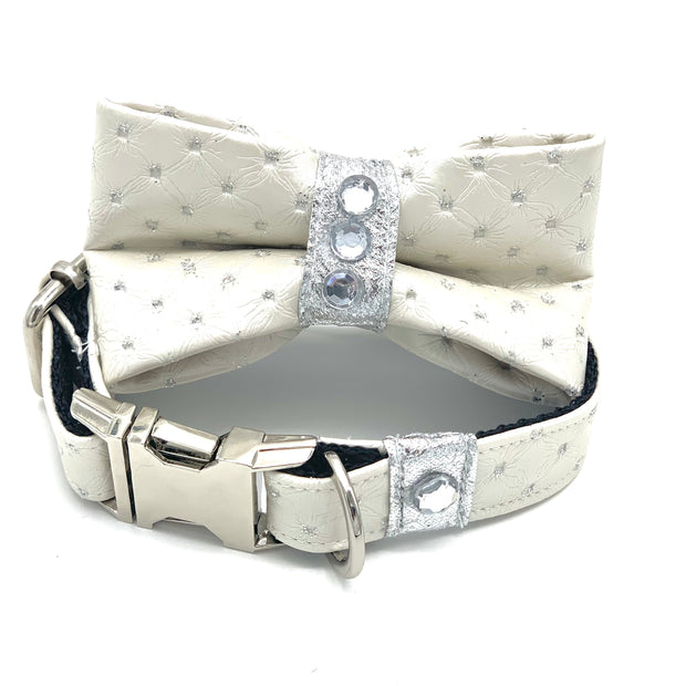 White glitter leather dog collar & bow tie set with Swarovski crystals