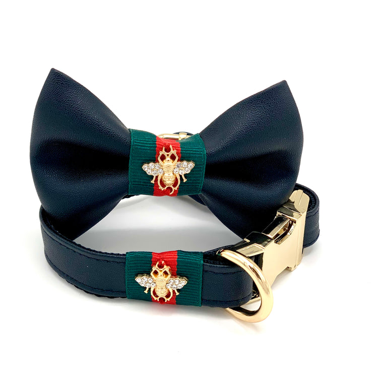 Black jaguar collar, Leash & bow tie-Dog bow tie-Puccissime Pet Couture