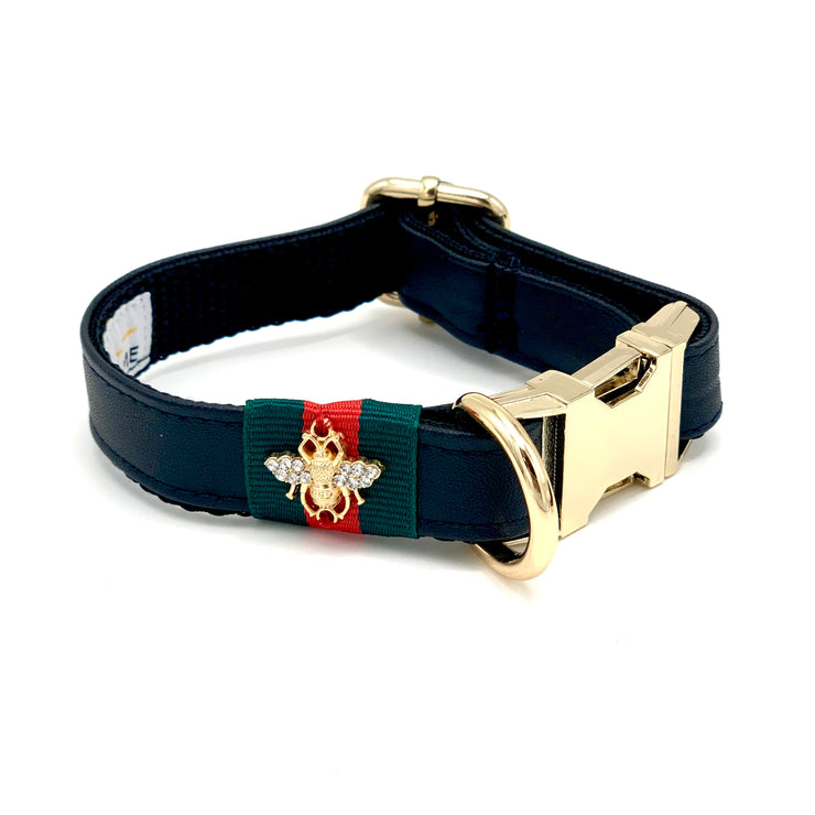 Black jaguar collar, Leash & bow tie-Dog bow tie-XS-collar only-Puccissime Pet Couture