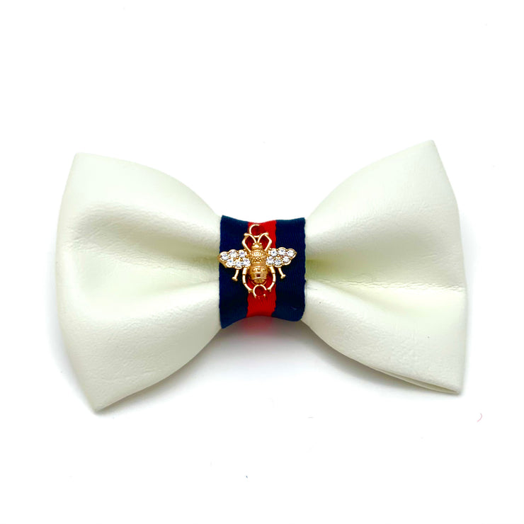 Gucci designer white leather dog bow tie - Puccissime Pet Couture
