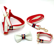 Gucci designer white leather dog collar, leash, bow tie, harness - Puccissime Pet Couture
