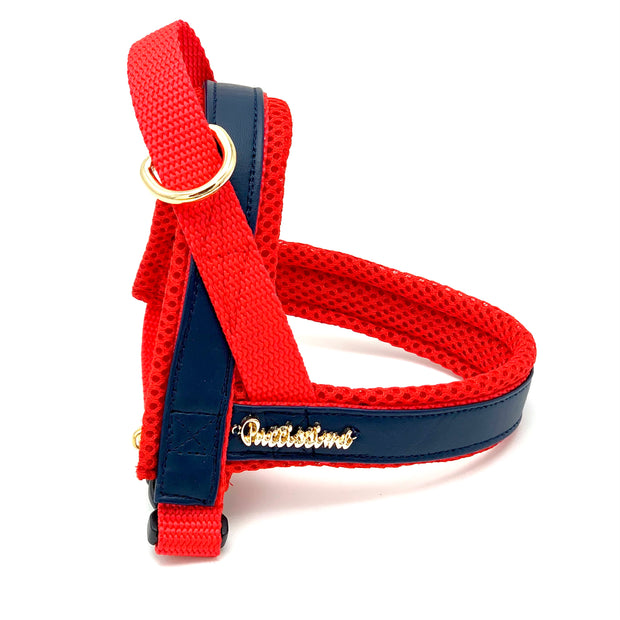 Navy & red leather collar - Dropship