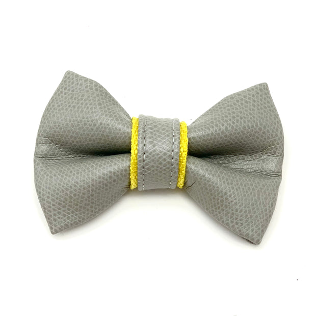 gray yellow leather dog bow tie - Puccissime Pet Coututre