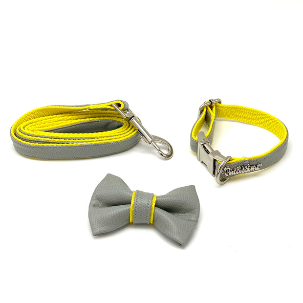 gray yellow leather dog collar leash bow tie set - Puccissime Pet Coututre