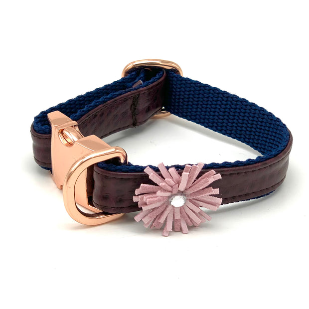 Burgundy navy leather dog collar - Puccissime Pet Couture