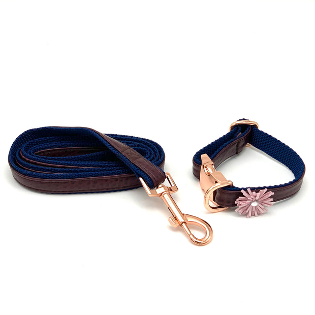 Burgundy navy leather dog collar leash set - Puccissime Pet Couture