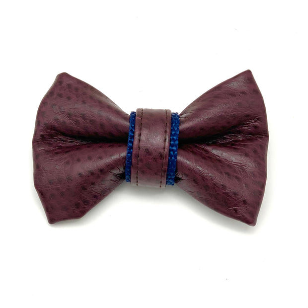 Burgundy & Navy leather bow tie- Dropship