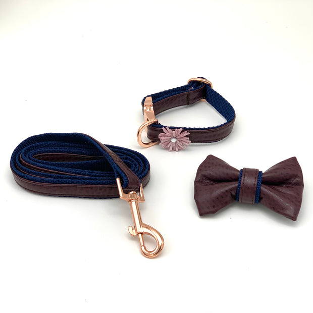 Burgundy navy leather dog collar leash bow tie set- Puccissime Pet Couture