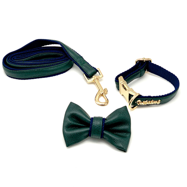 Green navy leather dog collar leash bow tie - Puccissime Pet Couture