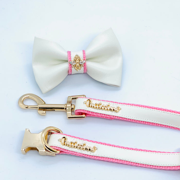 Baby pink puppy collar leash bow tie - white and pink leather dog collar leash bow tie - pink leather dog accessories - white pink dog matching set