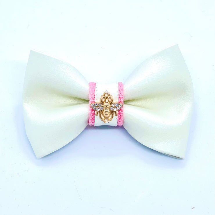 Baby pink puppy bow tie - white and pink leather dog bow tie - pink leather dog accessories - white pink dog matching set