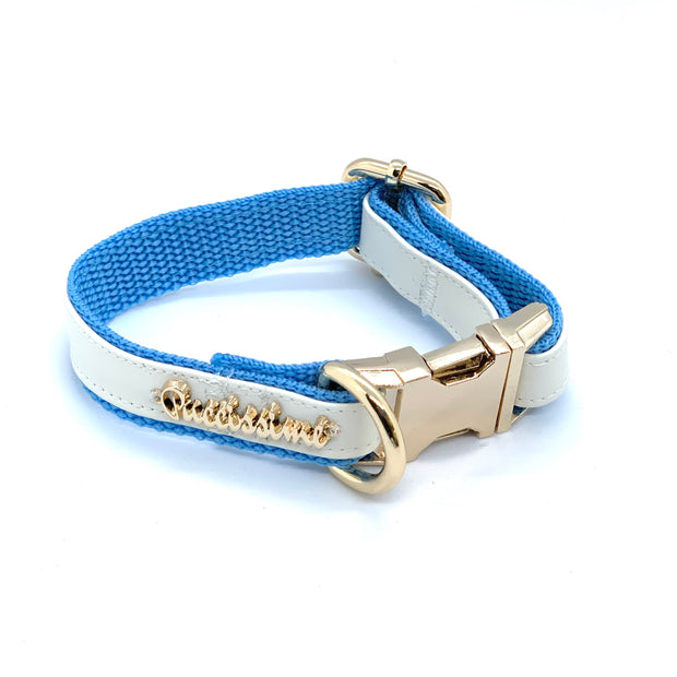 Baby blue puppy collar leash bow tie - white and blue leather dog collar leash bow tie - blue leather dog accessories - white baby blue dog matching set