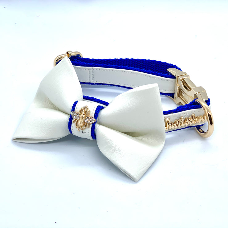 luxury designer white and blue PU leather dog collar , leash , bow tie and harness full matching set with gold buckle - elegant dog accessories with crystal bee - Puccissime Pet Couture