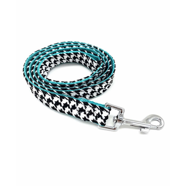 kerberos fashion houndstooth turquoise dog leash- Puccissime pet couture