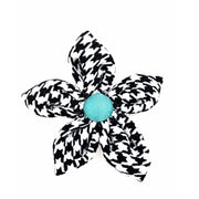 kerberos fashion houndstooth turquoise dog flower- Puccissime pet couture
