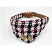 Houndstooth dog leather collar bandana