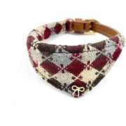 Harlequin dog collar bandana burgundy leather- Metal bow knot stud-Small