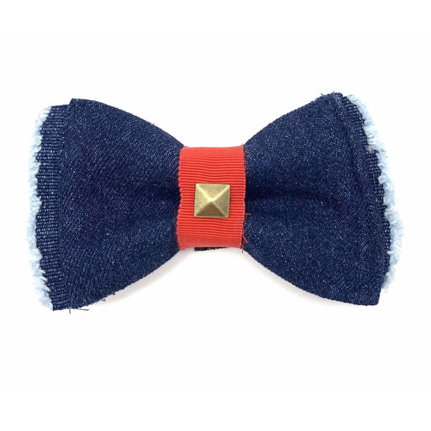 Frayed denim & red dog bow tie with bronze studs - Puccissime Pet Couture