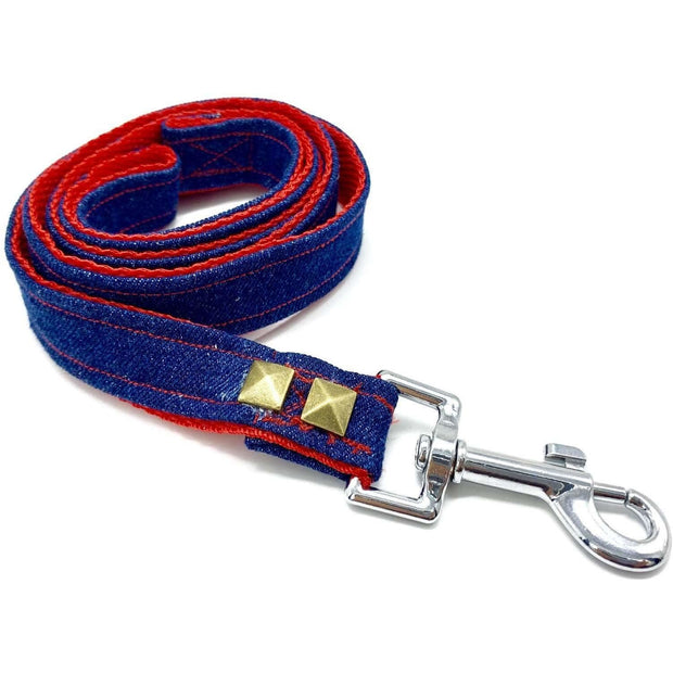 Frayed denim & red dog leash with bronze studs - Puccissime Pet Couture