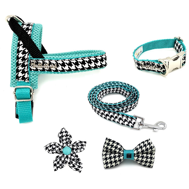 Designer luxury fashion houndstooth turquoise dog harness bow tie collar flower and leash matching set - Puccissime pet couture