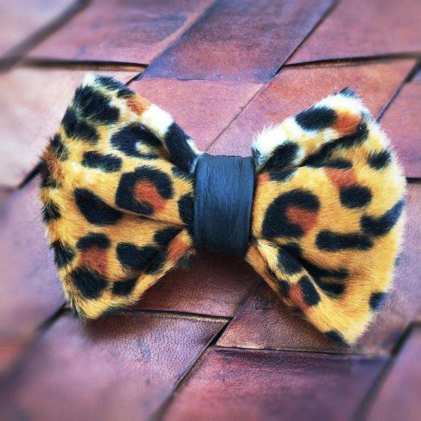 Leopard animal print with leather dog bow tie