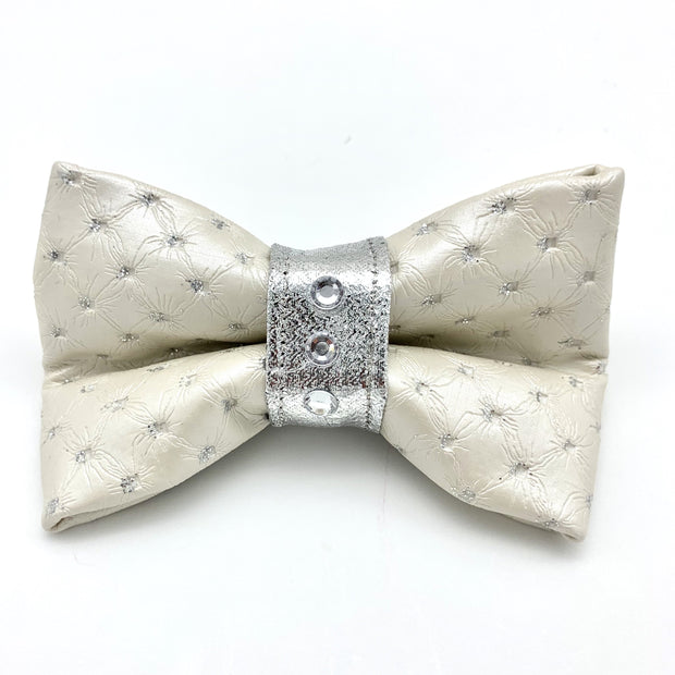 White & silver glitter leather dog bow tie with Swarovski crystals