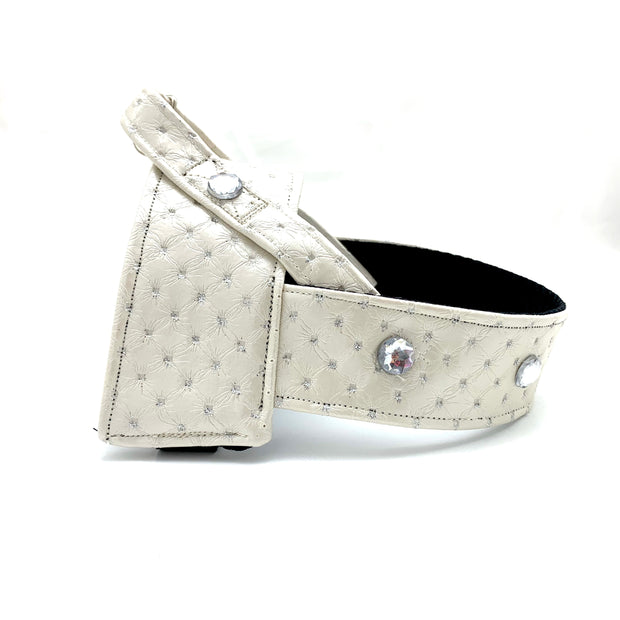 White glitter leather harness with Swarovski crystals