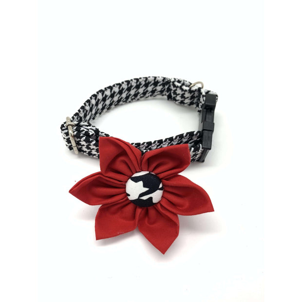 Xolotl fashion houndstooth dog collar flower accessories - puccissime pet couture