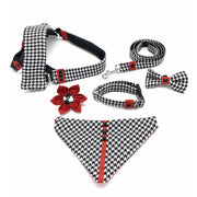 Xolotl fashion houndstooth dog haness, collar, leash, bow tie, bandana, flower matching set - puccissime pet couture