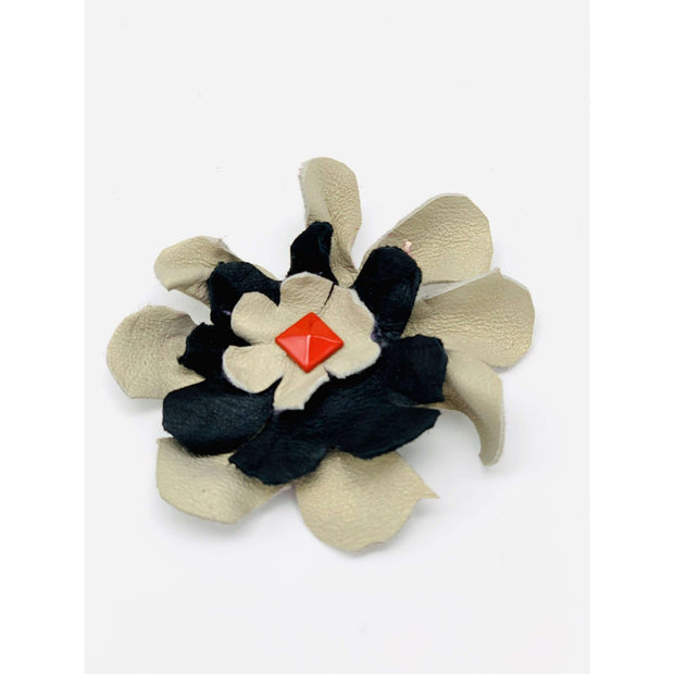 Beige, black & red soft leather dog collar flower