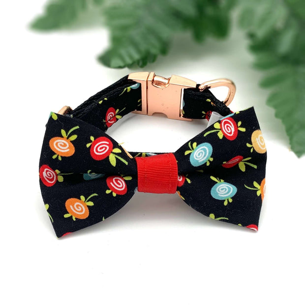 Black fruity collar & bow tie set