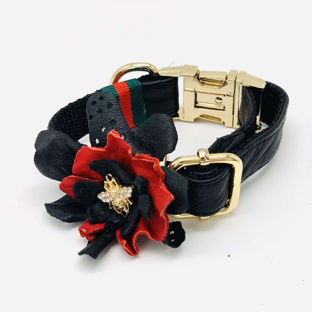 Black & red soft leather dog collar flower