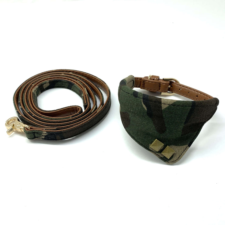 Camouflage leather dog collar bandana and leash set