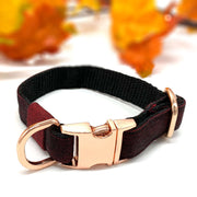 Dark burgundy denim dog collar with rose gold hardware