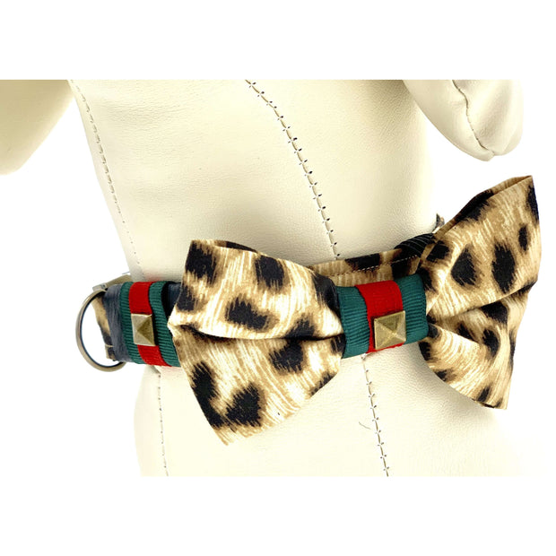 Designer leopard dog collar & bow tie